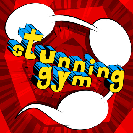 Stunning Gym - Comic book word on abstract background. Ilustrace