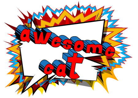Awesome Cat - Comic book word on abstract background. 스톡 콘텐츠 - 102311509