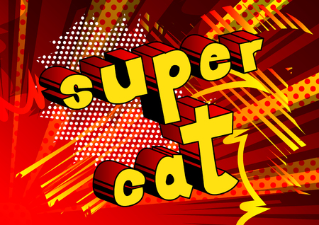 Super Cat - Comic book word on abstract background. Stock fotó - 102311513