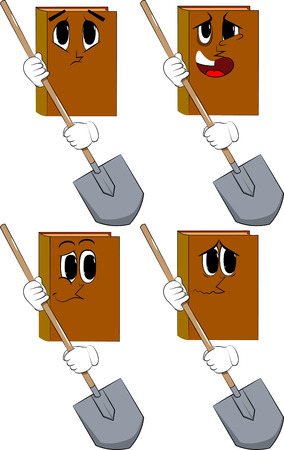 Books holding a shovel. Cartoon book collection with sad faces. Expressions vector set.