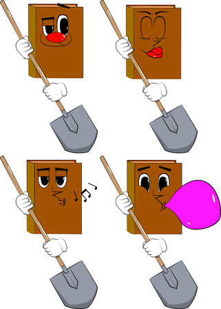 Books holding a shovel. Cartoon book collection with various faces. Expressions vector set.