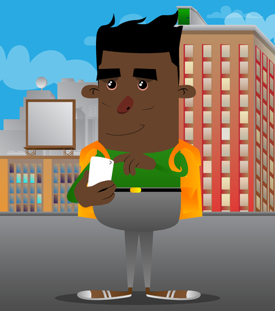 Schoolboy using a mobile phone. Vector cartoon character illustration.