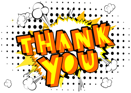 Thank You - Comic book style word on abstract background.