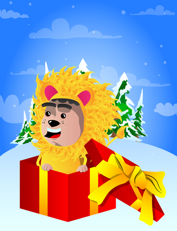 Boy dressed as lion in a gift box. Vector cartoon character illustration.