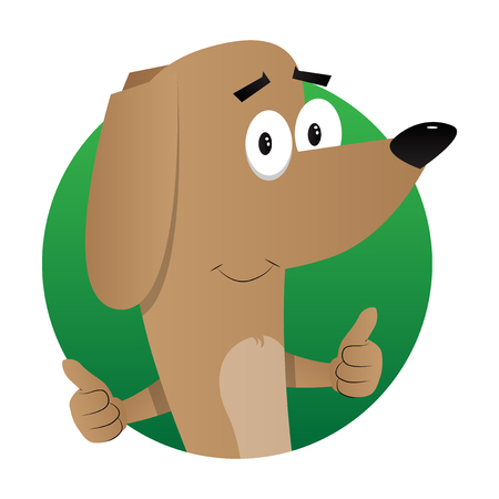 Cartoon illustrated dog making thumbs up sign with two hands.