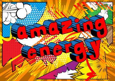 Amazing Energy - Comic book style word on abstract background.