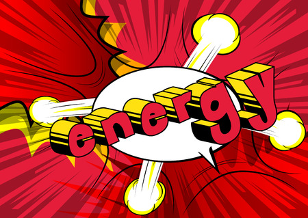 Energy - Comic book style word on abstract background. Ilustração