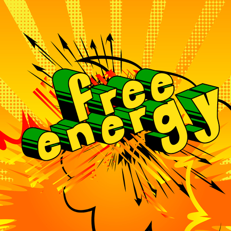 Free Energy - Comic book style word on abstract background. Ilustração