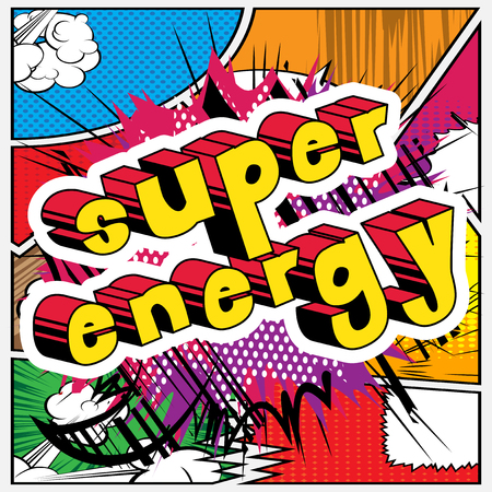 Super Energy - Comic book style word on abstract background. Иллюстрация