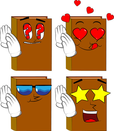 Books holds both hand at his ear, listening. Cartoon book collection with various faces. Expressions vector set.