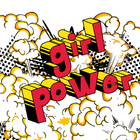 Girl Power - Comic book style word on abstract background.