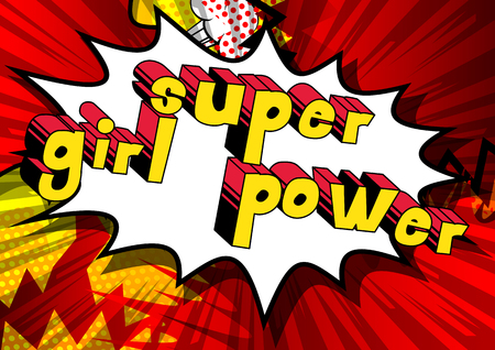 Super Girl Power - Comic book style word on abstract background. Illustration