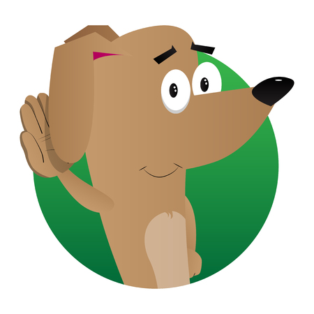 Cartoon illustrated dog holds hand at his ear, listening.