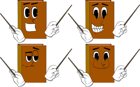 Books orchestra conductor. Cartoon book collection with happy faces. Expressions vector set.