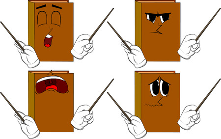 Books orchestra conductor. Cartoon book collection with sad faces. Expressions vector set.