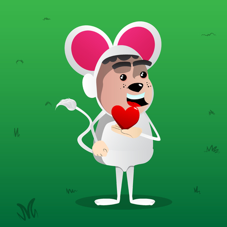 Boy dressed as mouse holding red heart in his hand. Vector cartoon character illustration.