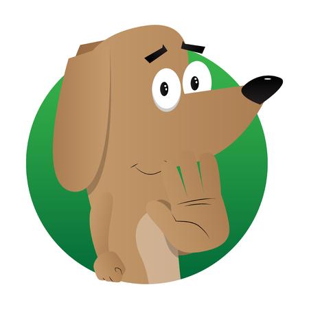 Cartoon illustrated dog showing deny or refuse hand gesture. Stok Fotoğraf - 102819455