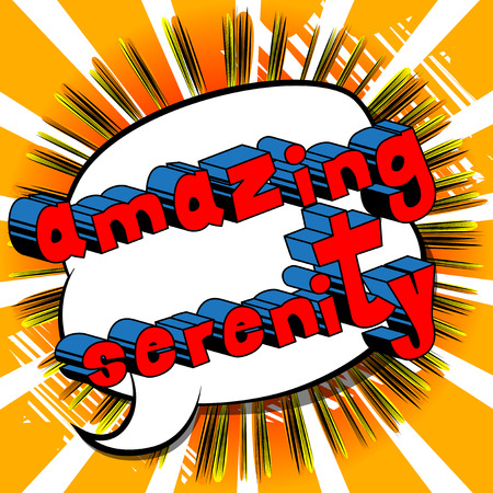 Amazing Serenity - Comic book style word on abstract background. Çizim