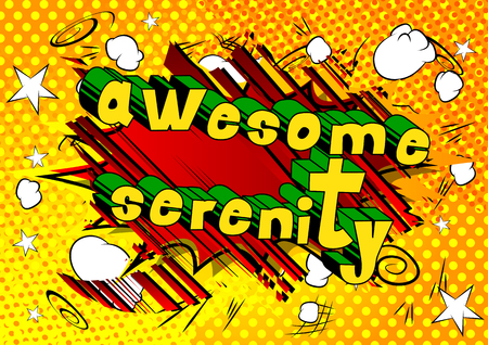 Awesome Serenity - Comic book style word on abstract background. Çizim