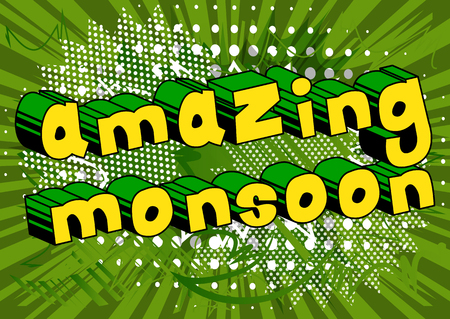 Amazing Monsoon - Comic book style word on abstract background.