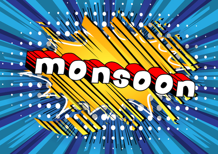 Monsoon - Comic book style word on abstract background. Illustration