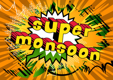 Super Monsoon - Comic book style word on abstract background.