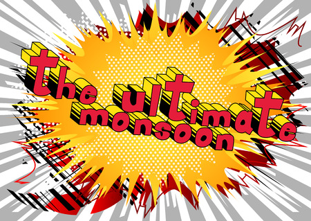 The Ultimate Monsoon - Comic book style word on abstract background. Stok Fotoğraf - 102819355