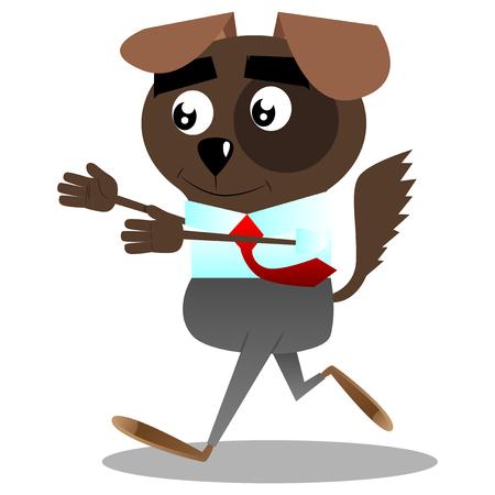 Cartoon illustrated business dog is on the run. Illustration