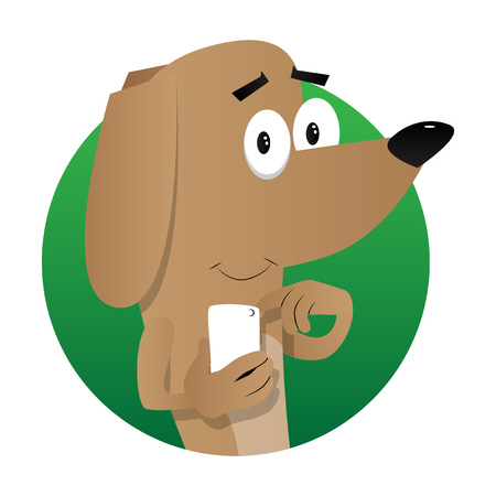 Cartoon illustrated dog using a mobile phone.