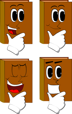 Books thinking. Cartoon book collection with happy faces. Expressions vector set.