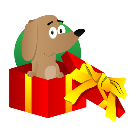 Cartoon illustrated dog in a gift box.
