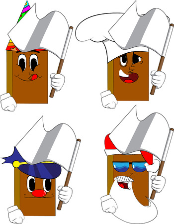 Books holding white flag of surrender. Cartoon book collection with costume faces. Expressions vector set.  イラスト・ベクター素材