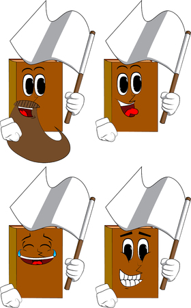 Books holding white flag of surrender. Cartoon book collection with happy faces. Expressions vector set.