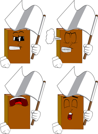 Books holding white flag of surrender. Cartoon book collection with angry and sad faces. Expressions vector set.