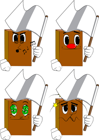 Books holding white flag of surrender. Cartoon book collection with various faces. Expressions vector set.