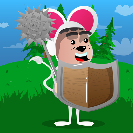 Boy dressed as mouse holding a spiked mace and shield. Vector cartoon character illustration.