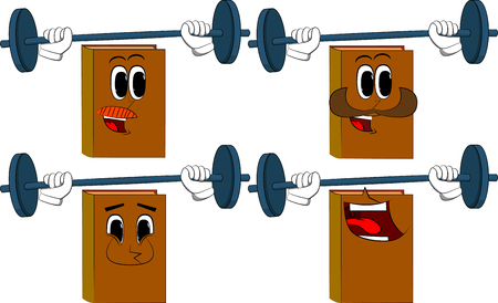 Books weightlifter lifting barbell. Cartoon book collection with happy faces. Expressions vector set.