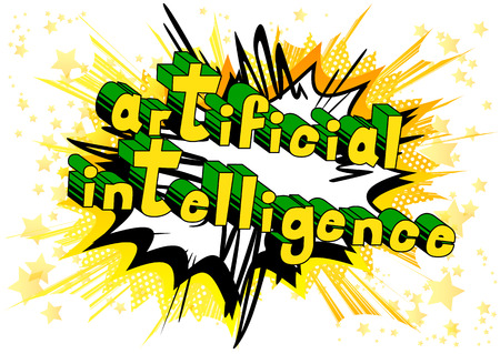 Artificial Intelligence - Comic book style word on abstract background. Stock Illustratie