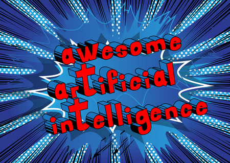Awesome Artificial Intelligence - Comic book style word on abstract background.