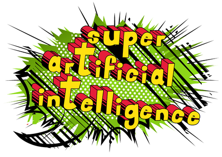 Super Artificial Intelligence - Comic book style word on abstract background. Illustration
