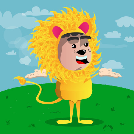 Boy dressed as lion shrugs shoulders expressing dont know gesture. Vector cartoon character illustration.