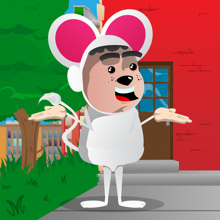 Boy dressed as mouse shrugs shoulders expressing dont know gesture. Vector cartoon character illustration.