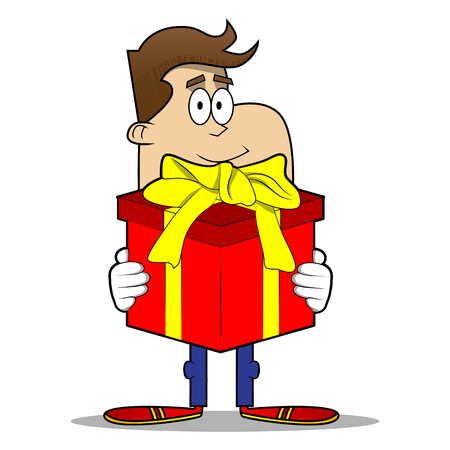 Simple retro cartoon of a businessman holding big gift box. Vector cartoon illustration.