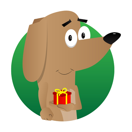 Cartoon illustrated dog holding small gift box.