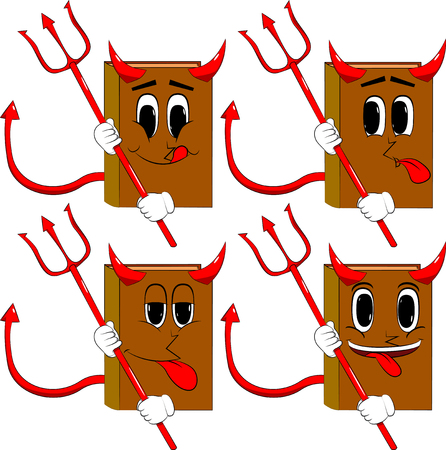 Books devil with pitchfork. Cartoon book collection with happy faces. Expressions vector set.