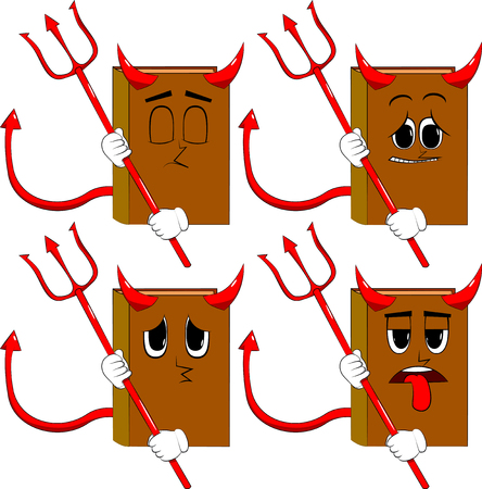 Books devil with pitchfork. Cartoon book collection with sad faces. Expressions vector set.