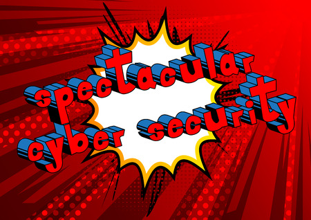 Spectacular Cyber Security - Comic book style word on abstract background. Stock Illustratie
