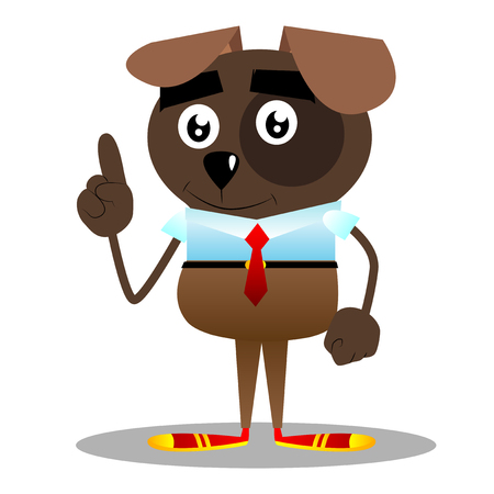 Cartoon illustrated business dog making a point.