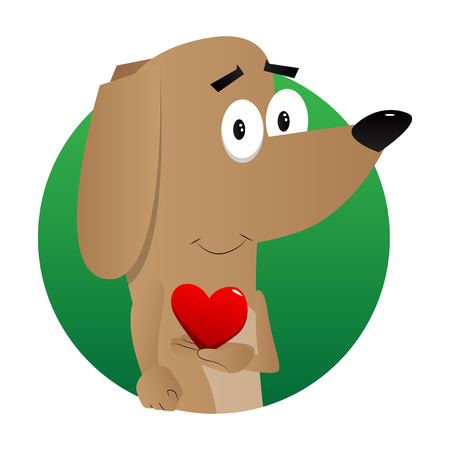 Cartoon illustrated dog holding red heart in his hand. Illustration