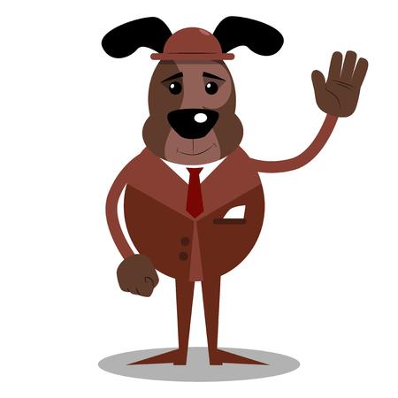 Cartoon illustrated dog with waving hand.